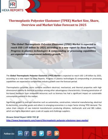 Thermoplastic Polyester Elastomer (TPEE) Market Size, Share, Overview and Market Value Forecast to 2025