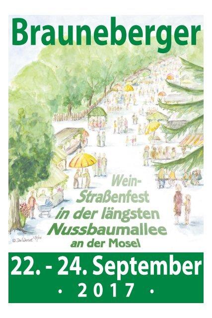 Brauneberger Wein-Straßenfest in der längsten Nussbaumallee an der Mosel