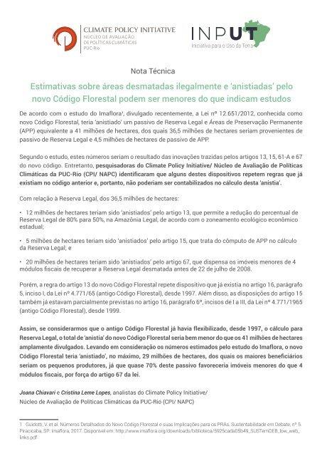 Nota Técnica_Estimativas sobre áreas desmatadas ilegalmente e 'anistiadas' pelo novo Código Florestal podem ser menores do que indicam estudos