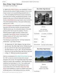 Box Elder High School - Brigham City History Project