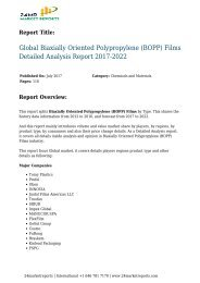 Biaxially Oriented Polypropylene (BOPP) Films Detailed Analysis Report 2017-2022
