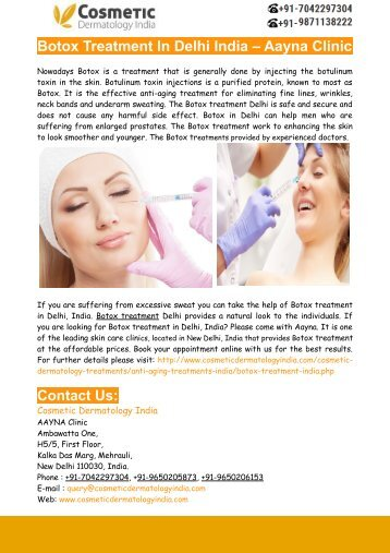 Botox Treatment In Delhi India – Aayna Clinic