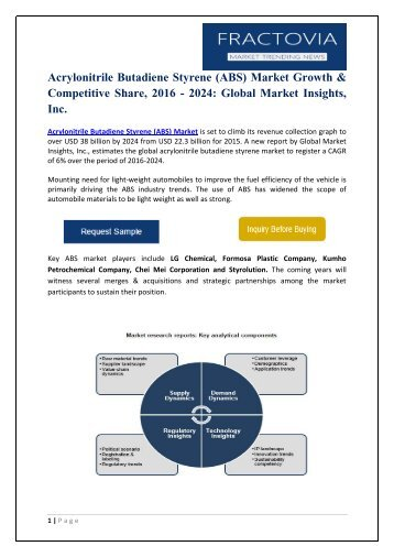 global acrylonitrile butadiene styrene market profiles Injection molded plastics market by raw material type (polypropylene, acrylonitrile-butadiene-styrene, polystyrene, high density polyethylene, and others), and application (automobile, consumer goods & electronics, packaging, building & construction, and healthcare) - global opportunity analysis and industry forecast, 2014-2020.