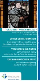 Programm des Evang. Kirchenkreises Halle-Saalkreis für Oktober und November 2017