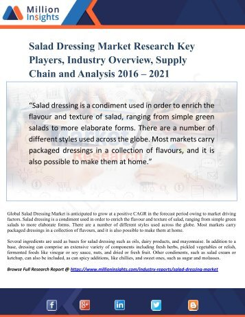 Salad Dressing Market Research Key Players, Industry Overview, Supply Chain and Analysis 2016 – 2021