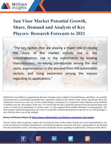 Sun Visor Market Potential Growth, Share, Demand and Analysis of Key Players- Research Forecasts to 2021