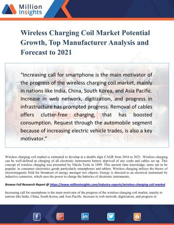 Wireless Charging Coil Market Potential Growth, Top Manufacturer Analysis and Forecast to 2021