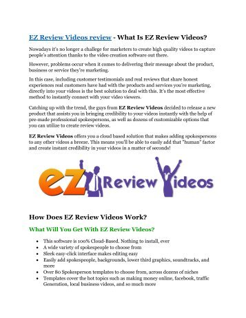 EZ Review Videos review & massive +100 bonus items