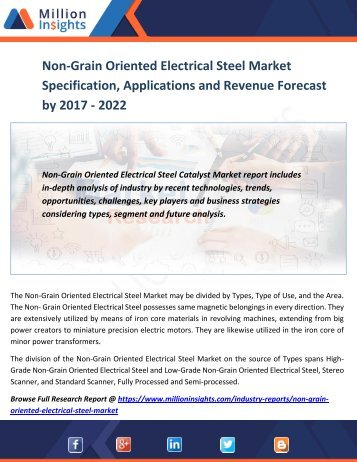 Non-Grain Oriented Electrical Steel Market Specification, Applications and Revenue Forecast by 2017 - 2022