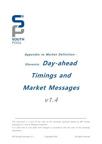Day ahead Timings and Market Messages
