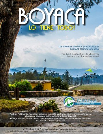 Brochure Destino BOYACÁ 2017 - My Trip Colombia - Paipa Tours