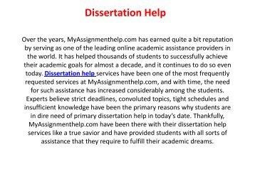 Dissertation help Online in Canada