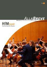 Alla Breve - Magazin der Hochschule für Musik Saar Nr. 37