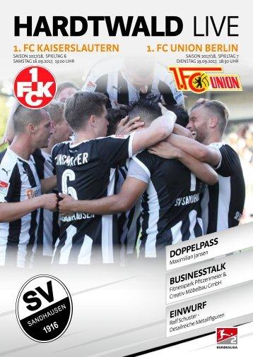 Hardtwald Live, Nr. 3, 17/18, SVS - 1. FC Kaiserslautern / 1. FC Union Berlin