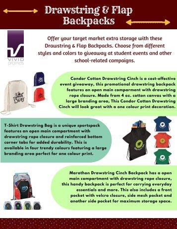 Custom Printed Drawstring and Flap Backpacks Australia