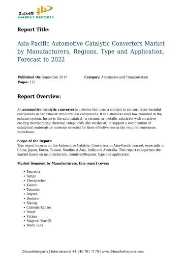 Automotive Catalytic Converters Market by Manufacturers, Regions, Type and Application, Forecast to 2022