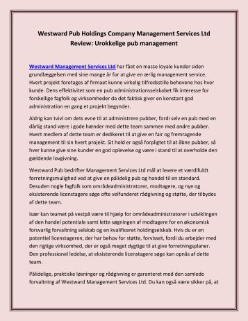 Westward Pub Holdings Company Management Services Ltd Review: Urokkelige pub management