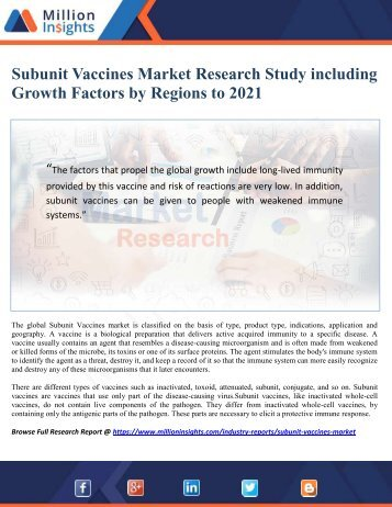 Subunit Vaccines Market Research Study including Growth Factors by Regions to 2021