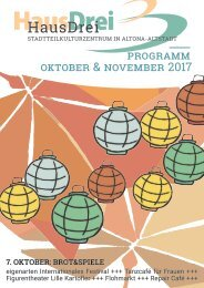 HausDrei Programm Oktober/ November 2017
