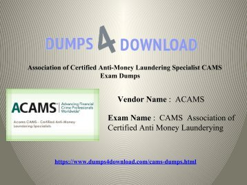 ACAMS CAMS Dumps Exam Question - 100% Passing Assurance