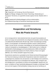 Kooperation und Vernetzung Was die Praxis braucht