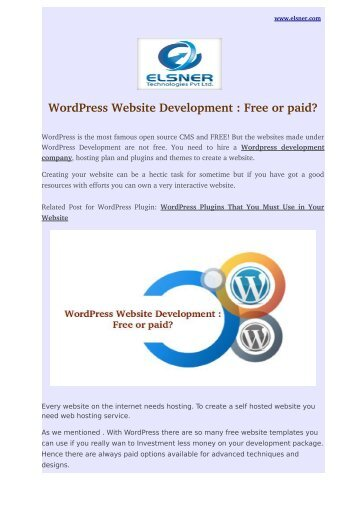 WordPress Website Development : Free or paid?