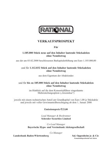 VERKAUFSPROSPEKT - Rational