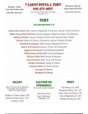 7 Lakes Pizza New Menu