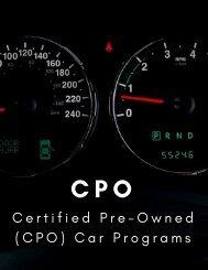 Certified Pre-Owned Car Programs