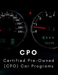 Certified Pre-Owned Car Programs