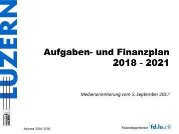 Aufgaben- und Finanzplan 2018 – 2021