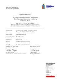 15. Tagung des Gemeinsamen Ausschusses der vfdb und