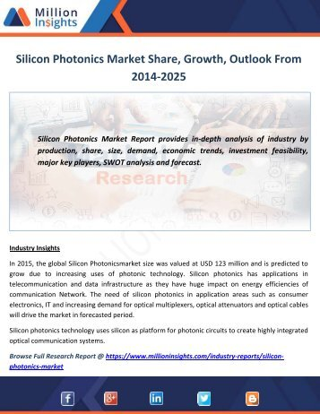 Silicon Photonics Market Share, Growth, Outlook From 2014-2025