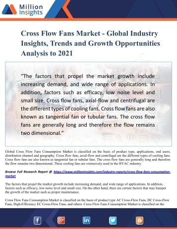 Cross Flow Fans Market - Global Industry Insights, Trends and Growth Opportunities Analysis to 2021