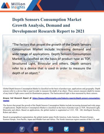 Depth Sensors Consumption Market Growth Analysis, Demand and Development Research Report to 2021