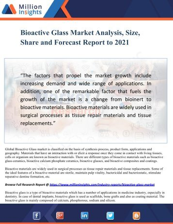 Bioactive Glass Market Analysis, Size, Share and Forecast Report to 2021