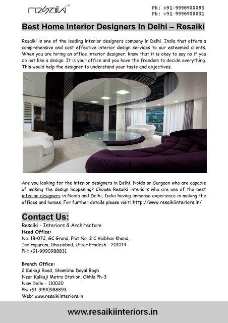 Best Home Interior Designers In Delhi Resaiki