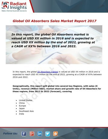 Oil Absorbers Sales Market Size, Share, Trends, Analysis and Forecast Report to 2022:Radiant Insights, Inc