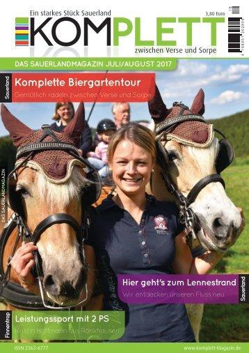 Komplett DAS Sauerlandmagazin - zwischen Verse und Sorpe Juli/August 2017