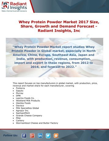 Whey Protein Powder Industry 2017 Size, Share, Growth and Demand Forecast – Radiant Insights