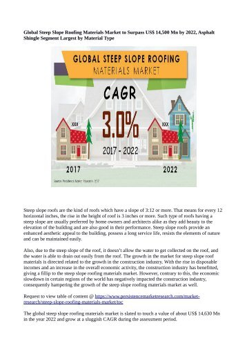 Steep Slope Roofing Materials Market To Reach US$ 14,630 Million By 2022