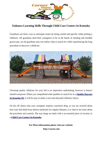 Enhance Learning Skills Through Child Care Centers In Kenosha