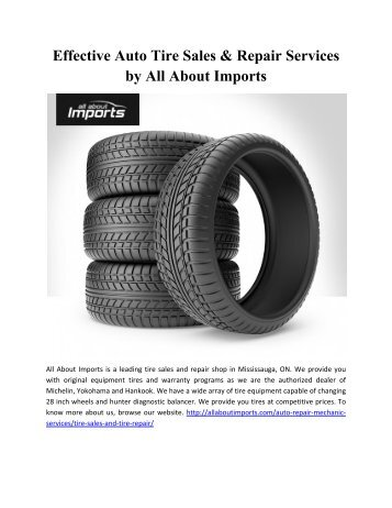 Effective Auto Tire Sales and Repair Services by All About Imports