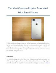 The Most Common Repairs Associated With Smart Phones