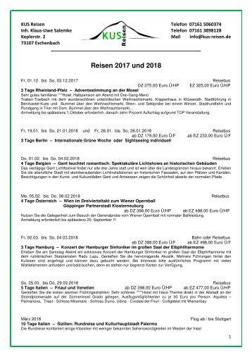 REISEN, TAGESFAHRTEN, KREUZFAHRTEN 2017 und 2018  -  KUS Reisen 73107 Eschenbach und 73035 Göppingen