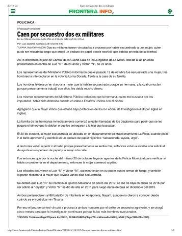 Caen por secuestro dos ex militares - Supuestos Secuestradores de la Vecina Viciosa de La Rioja Residencial Tijuana - Colinas de California - Coto Bahia Tijuana