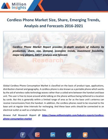 Cordless Phone Market Size, Share, Emerging Trends, Analysis and Forecasts 2016-2021