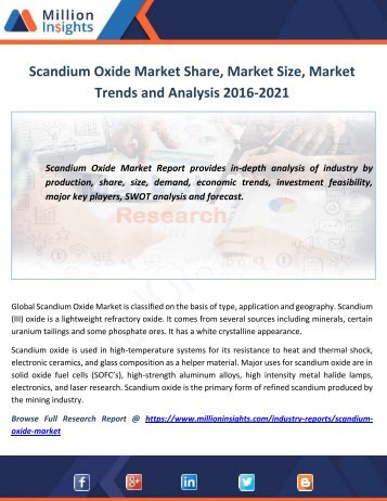 Scandium Oxide Market Share, Market Size, Market Trends and Analysis 2016-2021