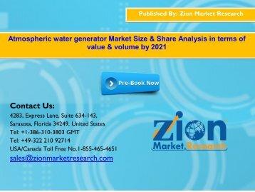 Global Atmospheric water generator Market, 2015 – 2021