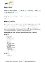 Gas Radiators Market - Analysis and Outlook to 2022 24marketreports